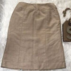 Lafayette 148 Khaki Sz 2 Pencil Skirt Back Split